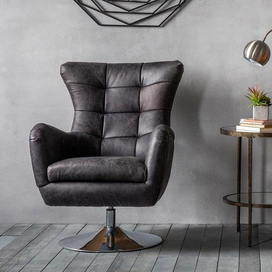 View Jester modern swivel lounge chair in antique ebony leather