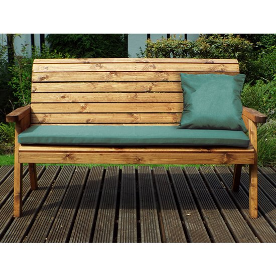 Jestra Traditional 3 Seater Bench With Green Cushion