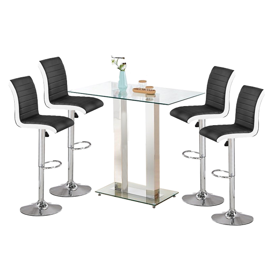 Jet Glass Bar Table With 4 Black And White Ritz Stools