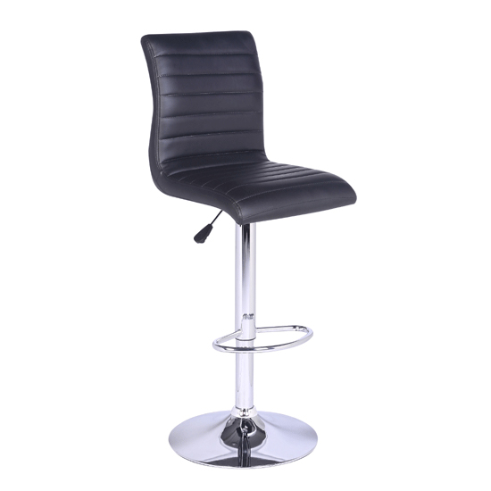 Jet Glass Bar Table With 4 Black Leather Ripple Stools_4