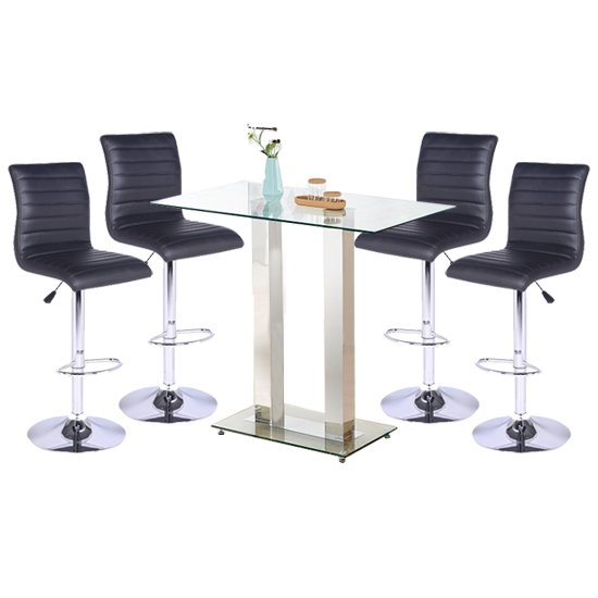 Jet Glass Bar Table With 4 Black Leather Ripple Stools_1