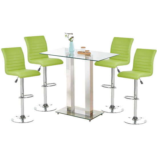 Jet Glass Bar Table With 4 Lime Leather Ripple Stools