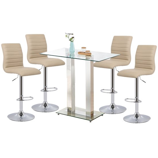 Jet Glass Bar Table With 4 Stone Leather Ripple Stools
