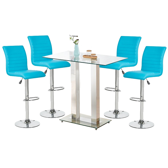 Jet Glass Bar Table With 4 Turquoise Leather Ripple Stools