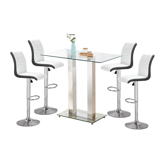 Jet Glass Bar Table With 4 White And Black Ritz Stools