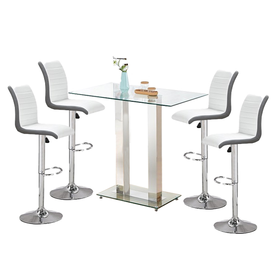 Jet Glass Bar Table With 4 White And Grey Ritz Stools