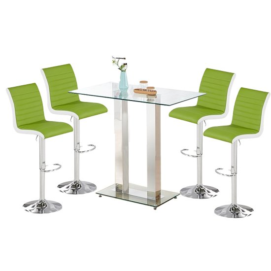 Jet Glass Bar Table With 4 White And Lime Ritz Stools