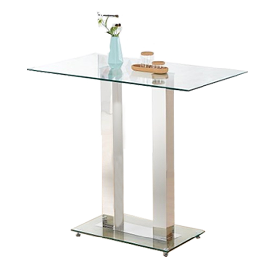 Jet Glass Bar Table With 4 White Leather Ripple Stools_3