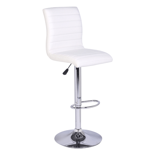 Jet Glass Bar Table With 4 White Leather Ripple Stools_4