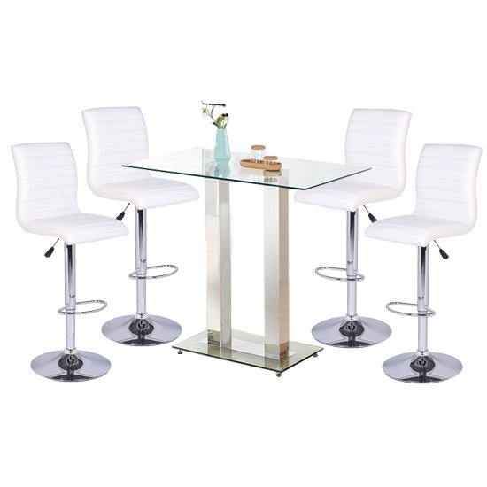 Jet Glass Bar Table With 4 White Leather Ripple Stools