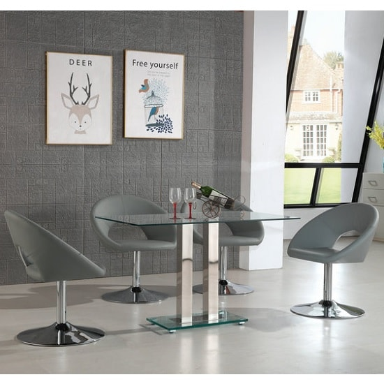 Jet Small Glass Dining Table In Clear With 4 Polo Grey Chairs