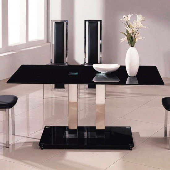 Jet Small Black Gl Dining Table Only