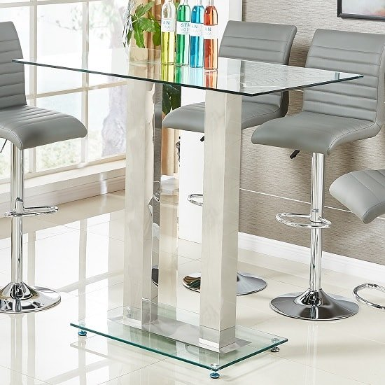 Jet Glass Bar Table Rectangular In Clear With Chrome