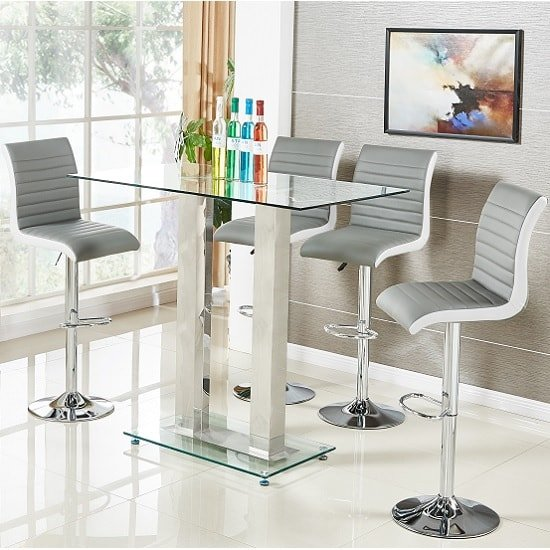Jet Glass Bar Table In Clear With 4 Ritz Grey Bar Stools