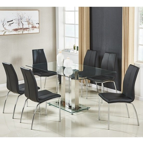 Jet Large Glass Dining Table In Clear And 6 Opal Black Chairs