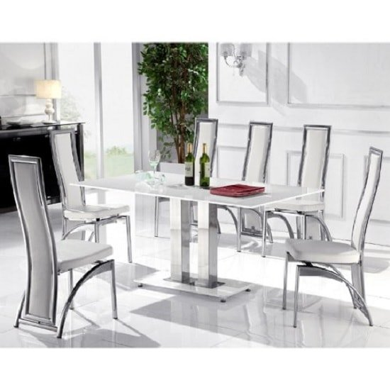 Jet Large Glass Dining Table In Super White And 6 Chicago Chairs
