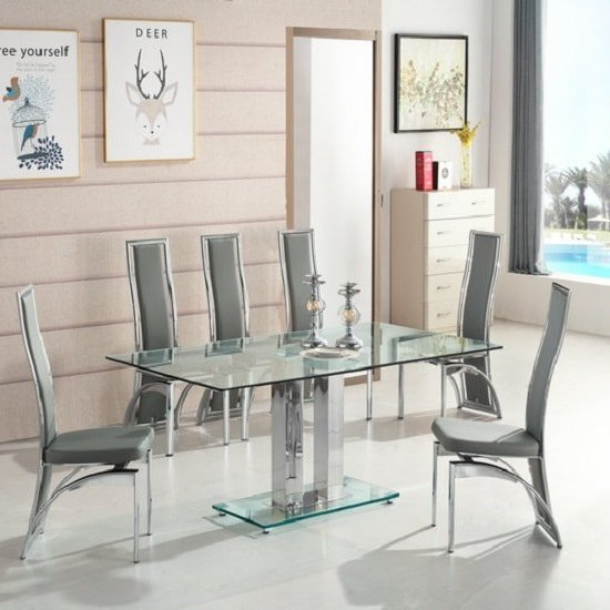 Jet Large Glass Dining Table In Clear With 6 Chicago Grey Chairs