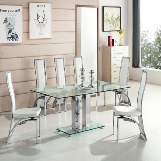 Jet Large Glass Dining Table In Clear And 6 Chicago White Chairs