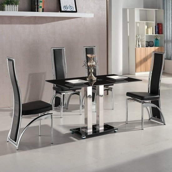 Dining Chairs Chicago: Jet Small Black Glass Dining Table Set With 4 Chicago