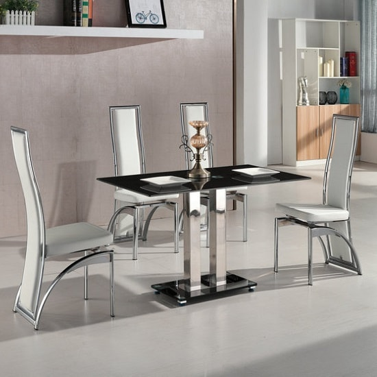 Jet Small Black Glass Dining Table With 4 Chicago White Chairs Furniture In Fashion