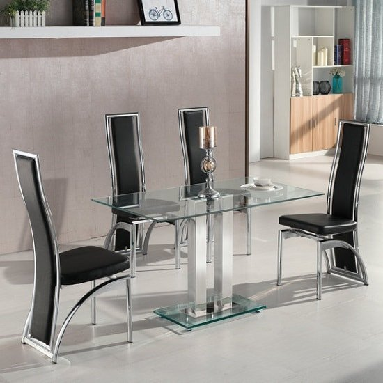 Jet Small Clear Glass Dining Table With 4 Chicago Black
