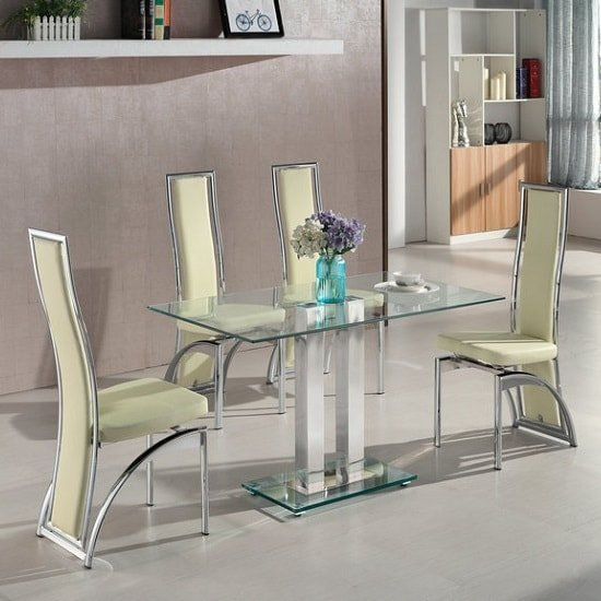 Jet Small Clear Glass Dining Table With 4 Chicago Cream