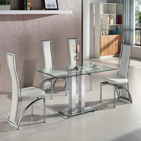 Dining Room Tables Chicago: Jet Small Clear Glass Dining Table With 4 Chicago White