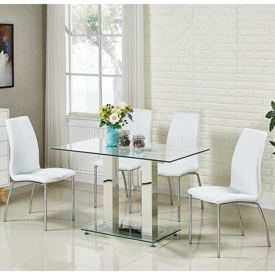 Jet Small Glass Dining Table In Clear With 4 Opal White Chairs