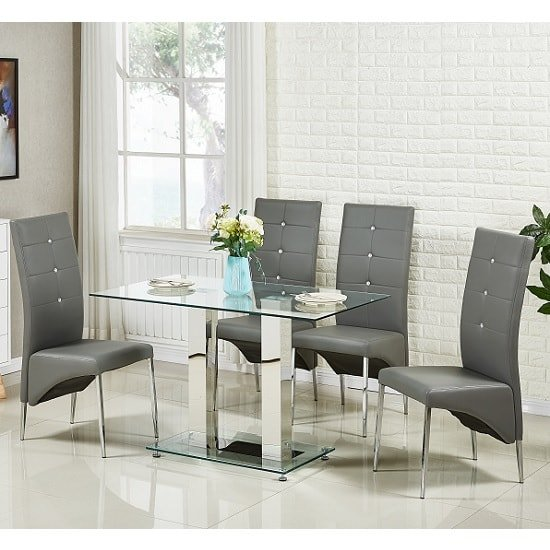jet small glass dining table in clear with 4 vesta grey. Black Bedroom Furniture Sets. Home Design Ideas