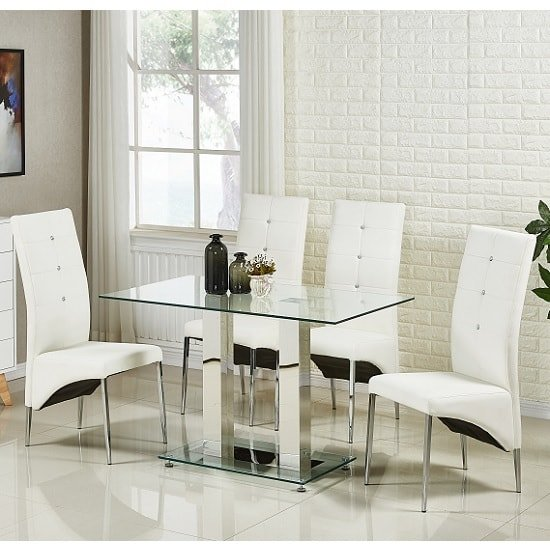 Jet Small Glass Dining Table In Clear With 4 Vesta White Chairs