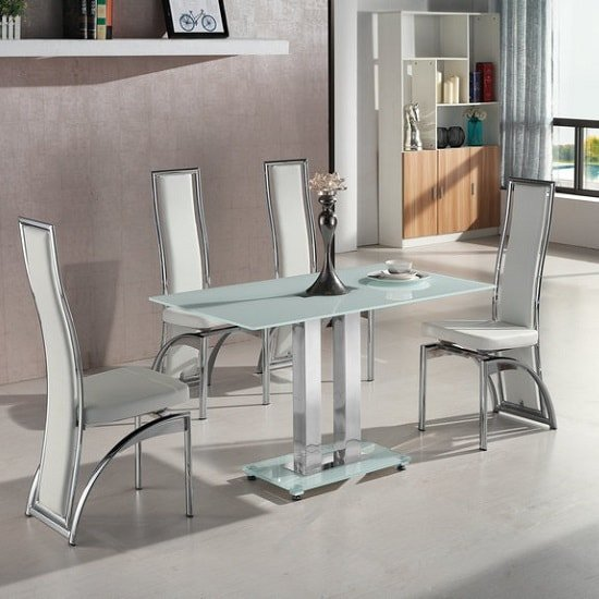 Jet Small Glass Dining Table In White With 4 Chicago Chairs