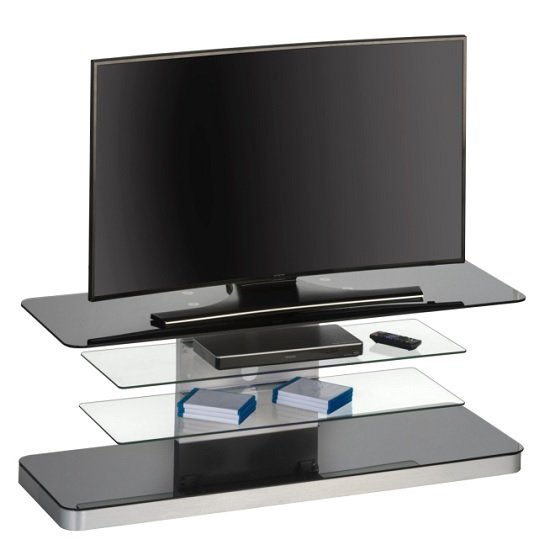 Jewel Modern TV Stand Rectangular In Black Glass