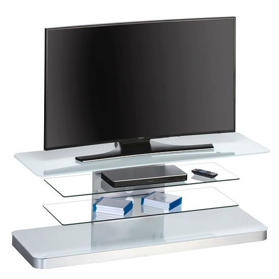 Jewel Modern TV Stand Rectangular In White Glass