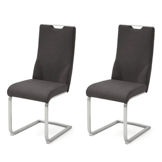Jiulia Anthracite Cantilever Dining Chair In A Pair