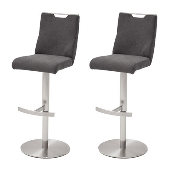Jiulia Anthracite Fabric Bar Stool With Steel Base In Pair