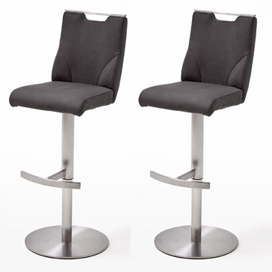 Jiulia Anthracite Leather Bar Stool In Pair With Steel Base