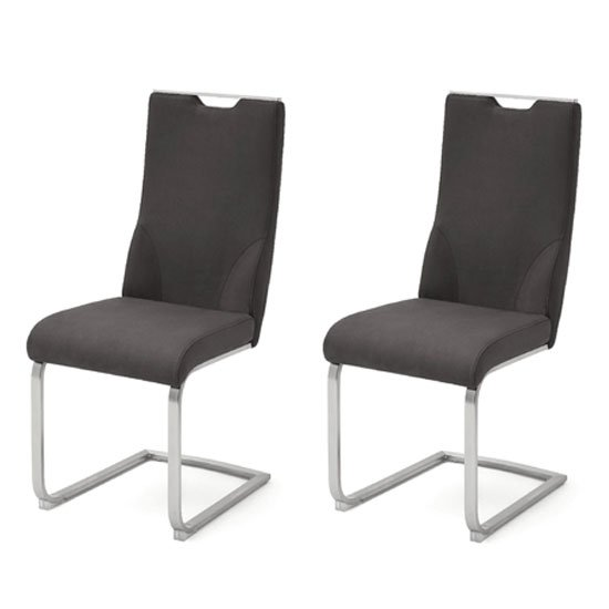 Jiulia Anthracite Leather Cantilever Dining Chair In A Pair