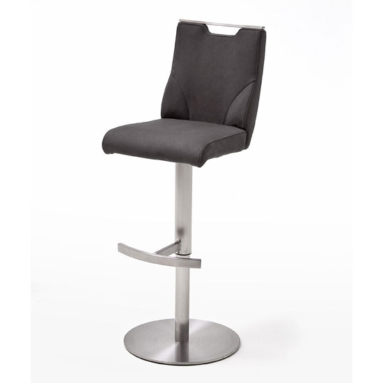 Jiulia Bar Stool In Anthracite With Stainless Steel Base