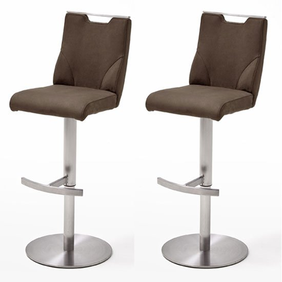 Jiulia Brown Leather Bar Stool With Steel Base In Pair