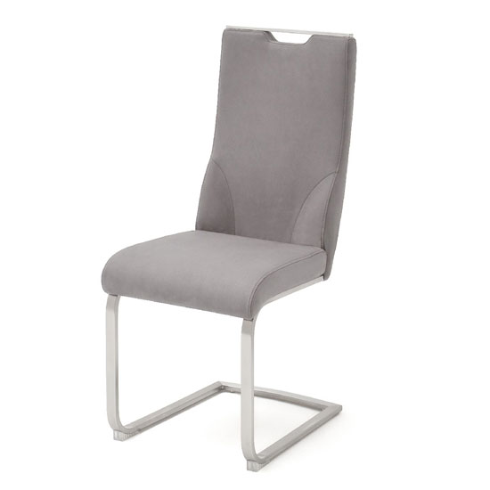 Jiulia Cantilever Dining Chair In Ice Grey