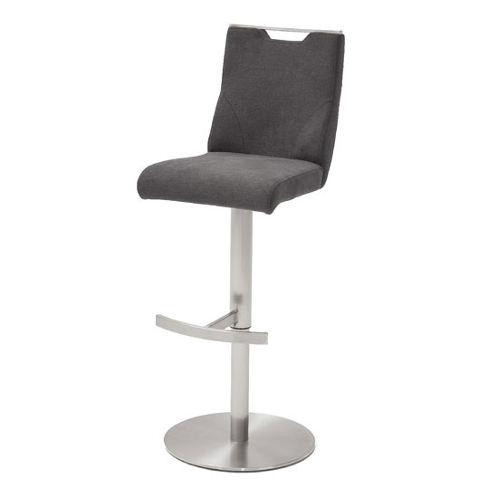 Jiulia Fabric Bar Stool In Anthracite With Steel Base