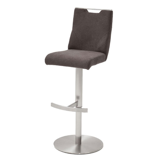 Product photograph showing Jiulia Fabric Bar Stool In Brown With Steel Base