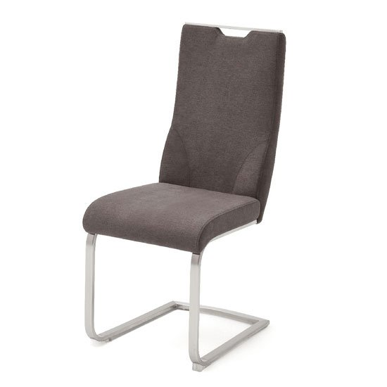 Jiulia Fabric Cantilever Dining Chair In Brown