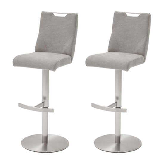 Product photograph showing Jiulia Ice Grey Fabric Bar Stool With Steel Base In Pair