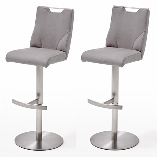 Jiulia Ice Grey Leather Bar Stool With Steel Base In Pair