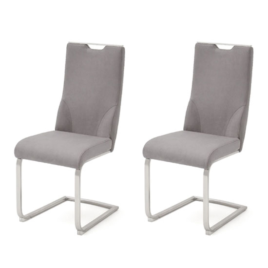 Jiulia Ice Grey Leather Cantilever Dining Chair In A Pair