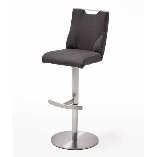 Jiulia Leather Bar Stool In Anthracite With Steel Base_1