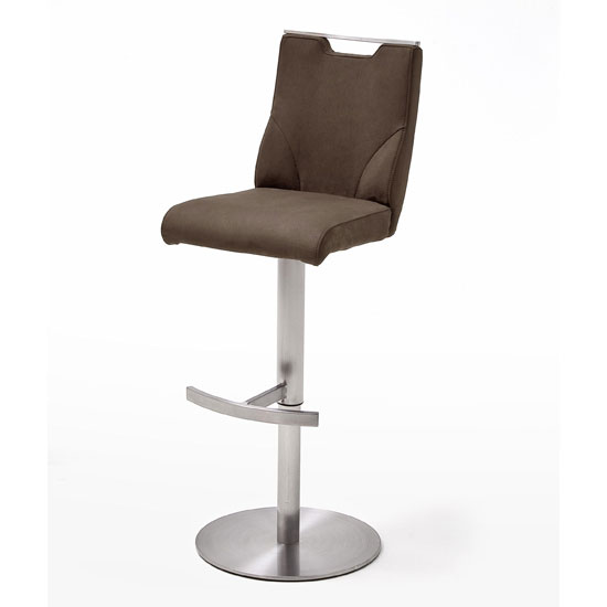 Jiulia Leather Bar Stool In Brown With Steel Base