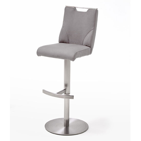 Jiulia Leather Bar Stool In Ice Grey With Steel Base