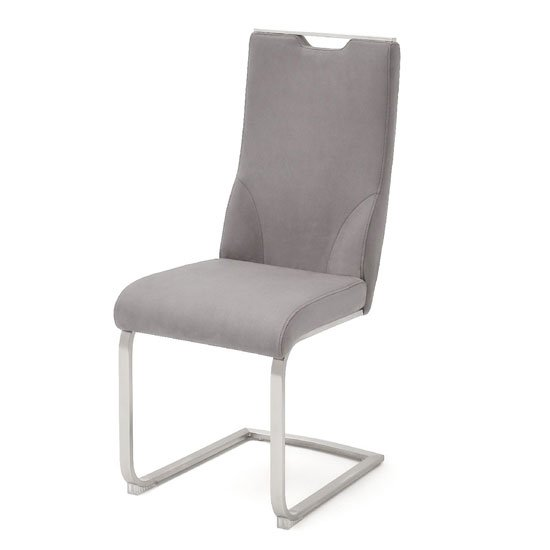 Jiulia Leather Cantilever Dining Chair In Ice Grey